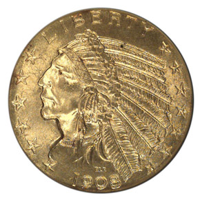 1908 S $5 MS obverse
