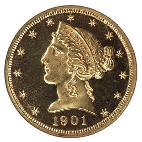 1901 $5 PF obverse