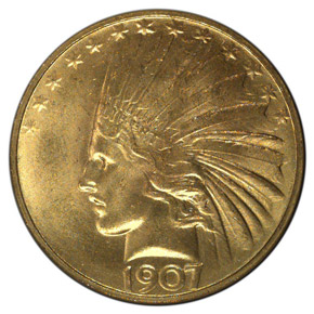 1907 INDIAN PERIODS ROLLED EDGE $10 MS obverse