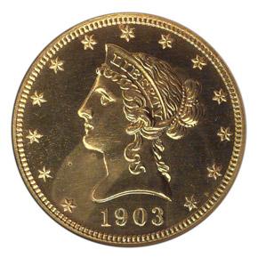 1903 $10 PF obverse
