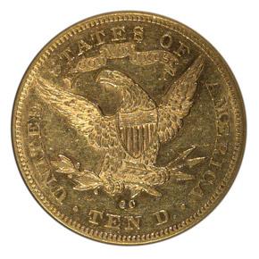 1879 CC $10 MS reverse