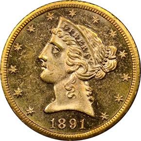1891 CC $5 MS obverse