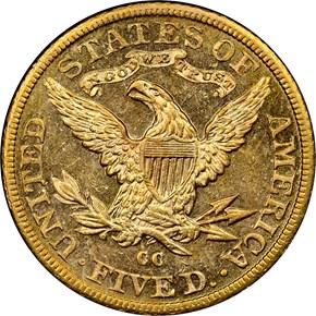 1891 CC $5 MS reverse