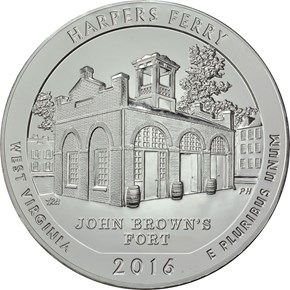 2016 5oz SILVER HARPERS FERRY 25C MS obverse