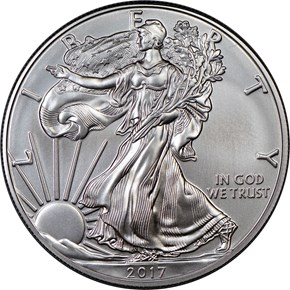 2017 W EAGLE BURNISHED SILVER EAGLE S$1 MS obverse