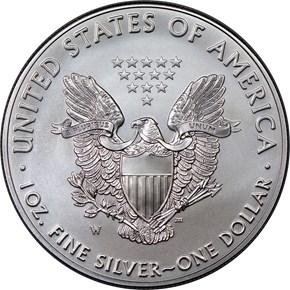 2017 W EAGLE BURNISHED SILVER EAGLE S$1 MS reverse
