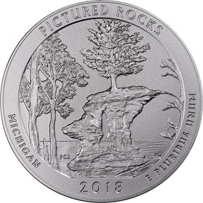2018 P 5oz Silver Pictured Rocks 25C SP obverse