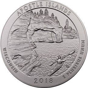 2018 P 5oz Silver Apostle Islands 25C SP obverse