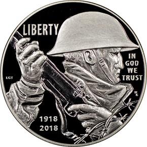2018 P World War I Centennial S$1 PF obverse
