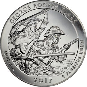 2017 5oz Silver George Rogers Clark 25C MS obverse