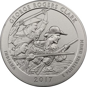 2017 P 5oz Silver George Rogers Clark 25C SP obverse