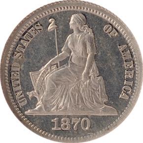1870 J-829 10C PF obverse