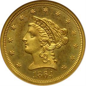 1864 $2.5 MS obverse
