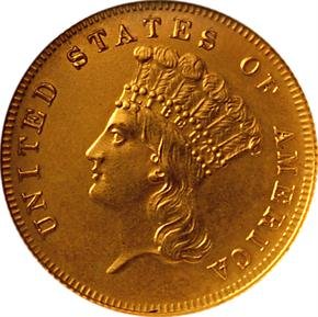 1875 J-1437 GILT $3 PF obverse