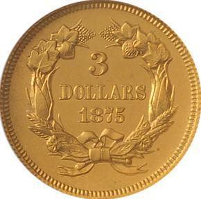 1875 J-1437 GILT $3 PF reverse