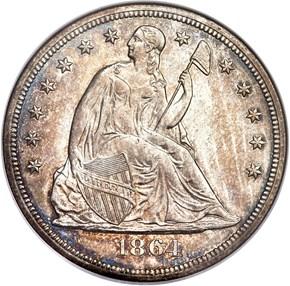 1864 $1 MS obverse
