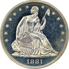 1881 50C PF obverse