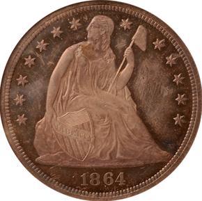 1864 J-396 S$1 PF obverse