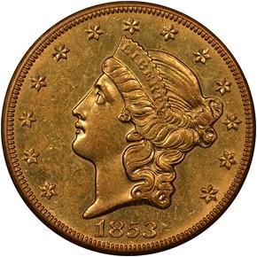 1853 O $20 MS obverse