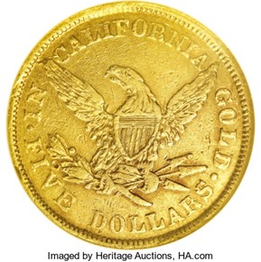 1852 SMALL HEAD WASS, MOLITOR & CO. $5 MS reverse