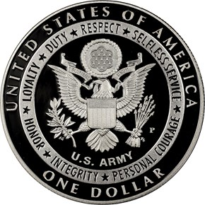 2011 P UNITED STATES ARMY S$1 PF reverse