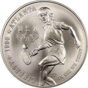 1996 D OLYMPICS TENNIS S$1 MS obverse