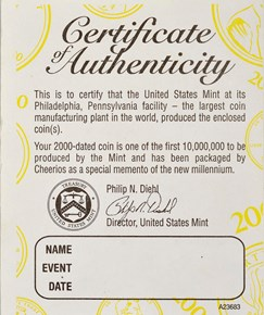 2000 CHEERIOS PROMOTION 1C MS reverse