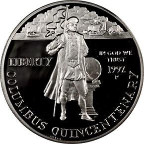 1992 P COLUMBUS QUINCENTENARY S$1 PF obverse