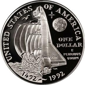 1992 P COLUMBUS QUINCENTENARY S$1 PF reverse