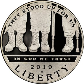 2010 W DISABLED VETERANS S$1 PF obverse