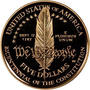 1987 W CONSTITUT $5 PF reverse