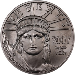 2007 W EAGLE BURNISHED PLATINUM EAGLE P$50 MS obverse