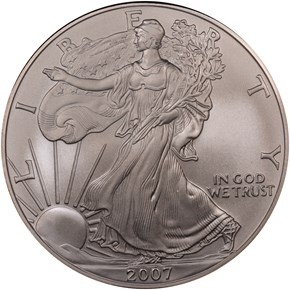 2007 W EAGLE BURNISHED SILVER EAGLE S$1 MS obverse