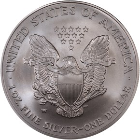 2007 W EAGLE BURNISHED SILVER EAGLE S$1 MS reverse