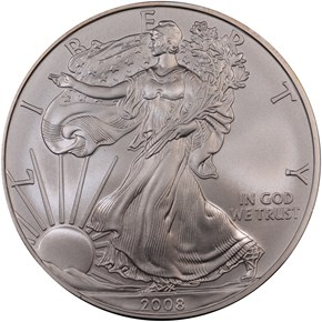 2008 W EAGLE BURNISHED SILVER EAGLE S$1 MS obverse