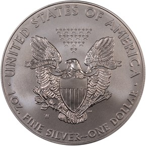 2008 W EAGLE BURNISHED SILVER EAGLE S$1 MS reverse
