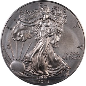 2013 W EAGLE BURNISHED SILVER EAGLE S$1 MS obverse