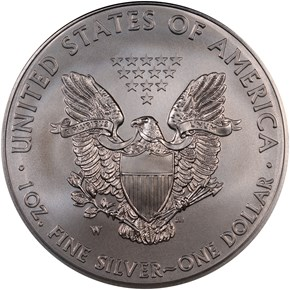 2013 W EAGLE BURNISHED SILVER EAGLE S$1 MS reverse