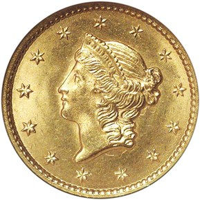 1849 CLOSED WREATH G$1 MS obverse
