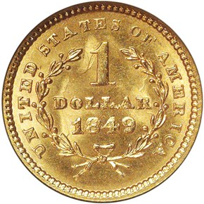 1849 CLOSED WREATH G$1 MS reverse