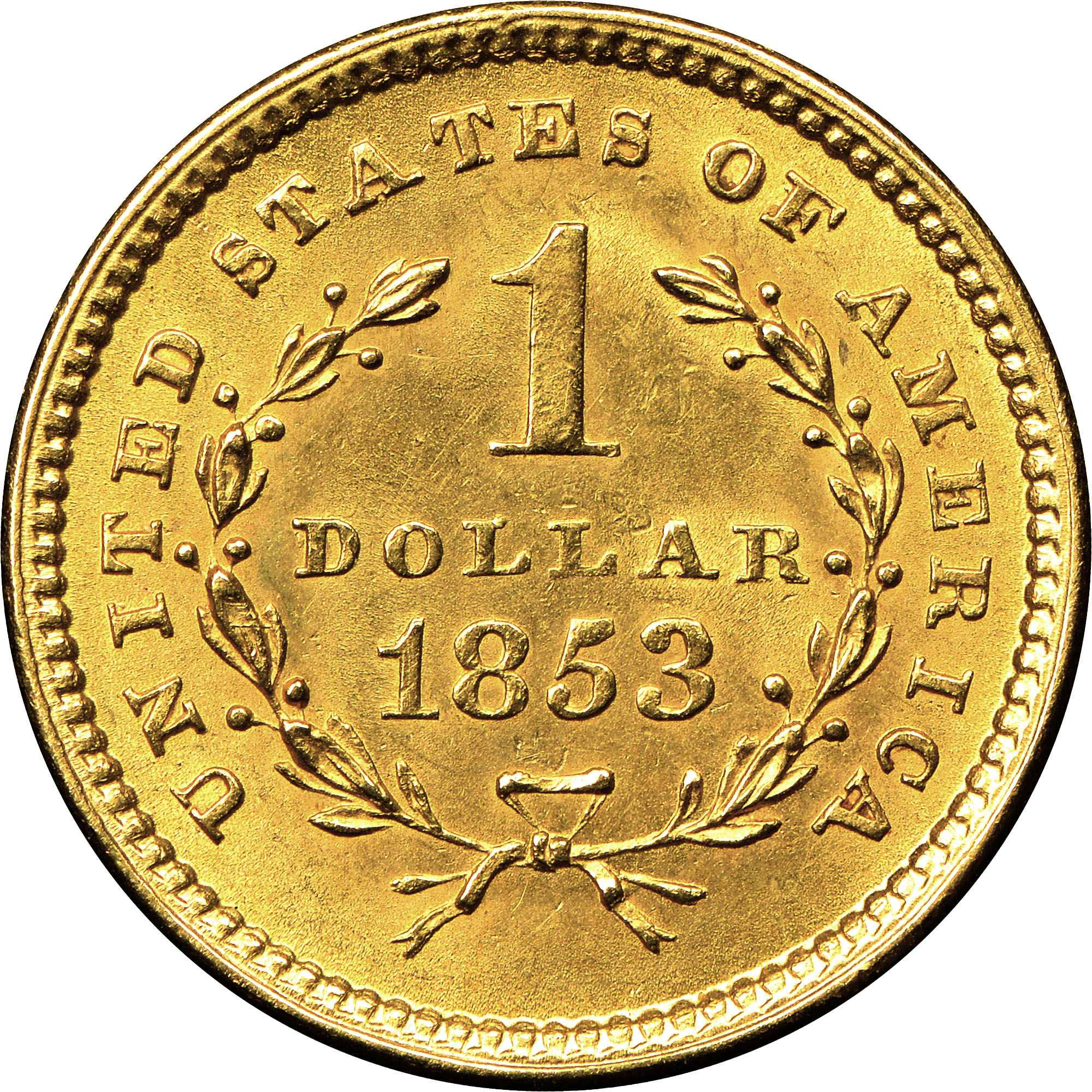 What Is A Gold Dollar Coin Worth: 1853 G$1 MS Gold Dollars