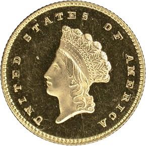1855 G$1 PF obverse