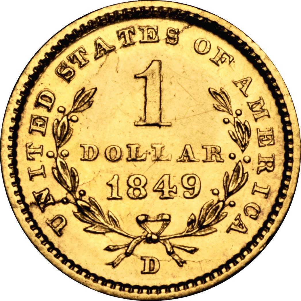 ... 1849 D G$1 MS reverse