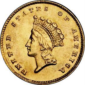 1855 D G$1 MS obverse
