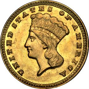 1858 D G$1 MS obverse
