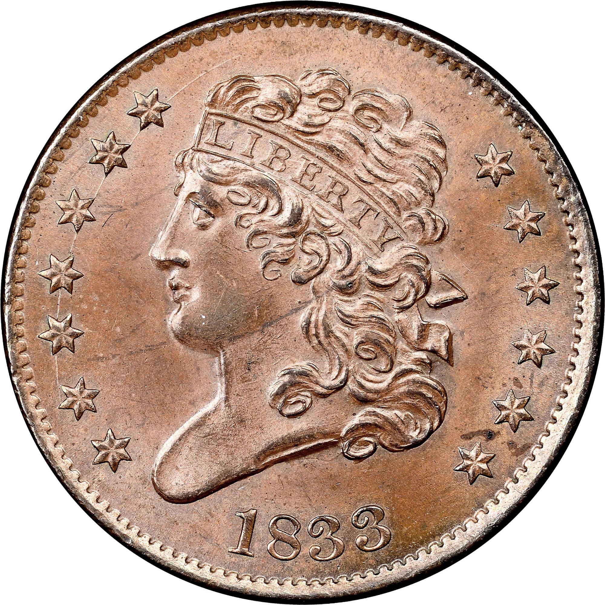 1833 C-1 1/2C MS obverse ...