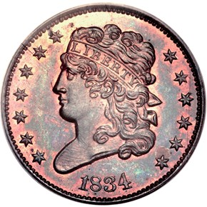 1834 1/2C PF obverse