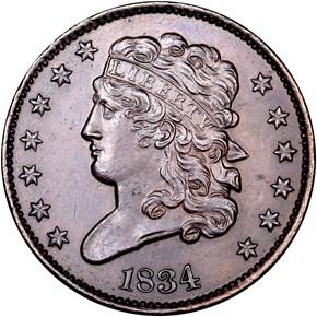 1834 C-1 1/2C MS obverse