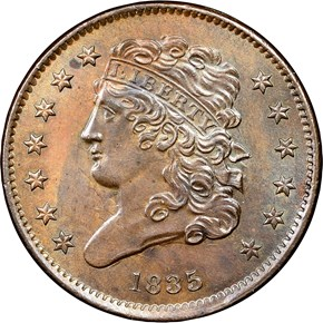 1835 1/2C MS obverse