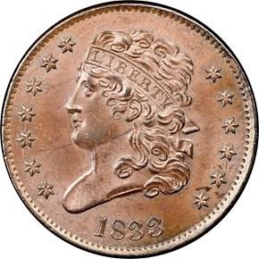 1833 C-1 1/2C MS obverse